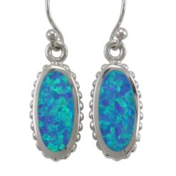 Sterling Silver 18x10mm Oval Blue Synthetic Opal Drop Earrings