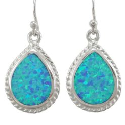 Sterling Silver 20x15mm Teardrop Blue Synthetic Opal Drop Earrings