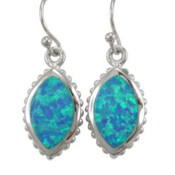 Sterling Silver 19x12mm Marquise Blue Synthetic Opal Drop Earrings