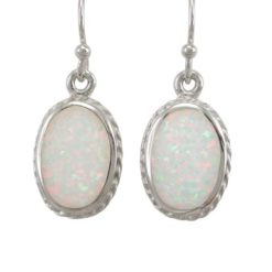 Sterling Silver 16x11mm Oval White Synthetic Opal Drop Earrings