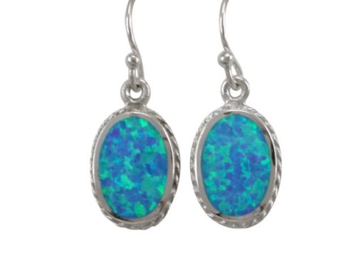 Sterling Silver 16x11mm Oval Blue Synthetic Opal Drop Earrings