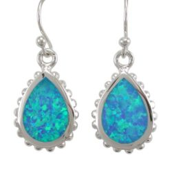 Sterling Silver 17x13mm Teardrop Blue Synthetic Opal Drop Earrings