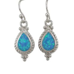 Sterling Silver 17x10mm Teardrop Blue Synthetic Opal Drop Earrings