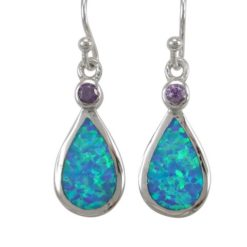 Sterling Silver 19x10mm Teardrop Blue Synthetic Opal & Purple Cubic Zirconia Drop Earrings