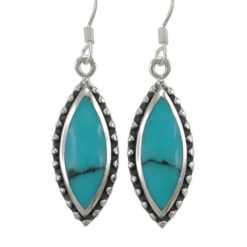 Sterling Silver 25x11mm Marquise Blue Turquoise Drop Earrings