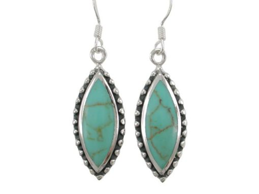 Sterling Silver 25x11mm Marquise Green Turquoise Drop Earrings