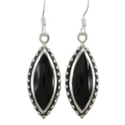 Sterling Silver 25x11mm Marquise Black Onyx Drop Earrings