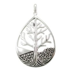 Sterling Silver 40x31mm Teardrop Tree Of Life Pendant