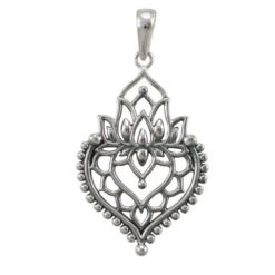 Sterling Silver 30x20mm Bohemian Style Lotus Flower Pendant