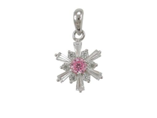 Sterling Silver 12mm Pink & White Cubic Zirconia Pendant