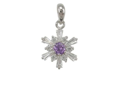 Sterling Silver 12mm Purple & White Cubic Zirconia Pendant
