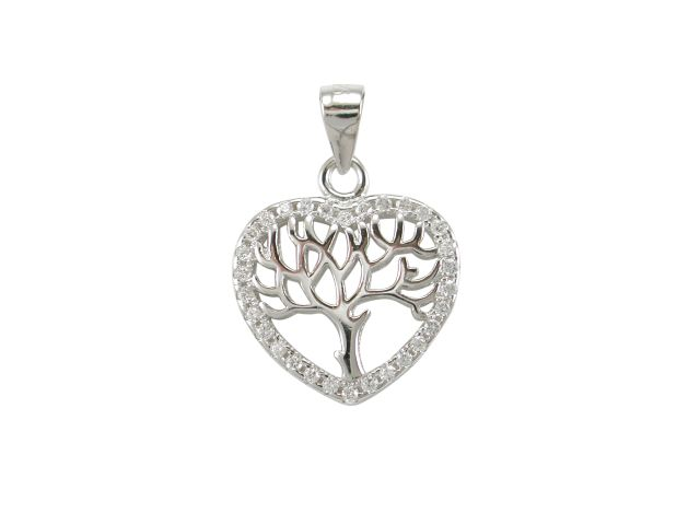 Sterling Silver 13mm White Cubic Zirconia Heart Tree Of Life Pendant