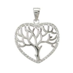 Sterling Silver 21mm White Cubic Zirconia Heart Tree Of Life Pendant