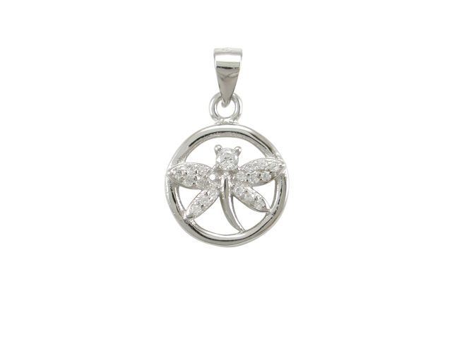 Sterling Silver 11mm White Cubic Zirconia Dragonfly Pendant