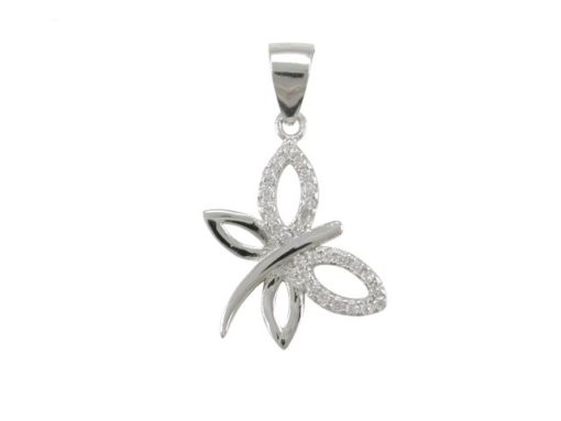 Sterling Silver 15x12mm White Cubic Zirconia Dragonfly Pendant
