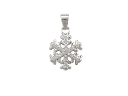 Sterling Silver 12mm White Cubic Zirconia Snowflake Pendant