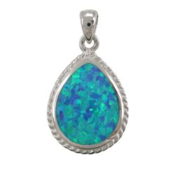 Sterling Silver 22x18mm Teardrop Blue Synthetic Opal Pendant