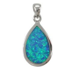 Sterling Silver 20x13mm Teardrop Blue Synthetic Opal Pendant