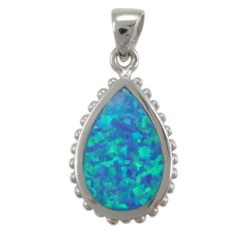 Sterling Silver 21x14mm Teardrop Blue Synthetic Opal Pendant