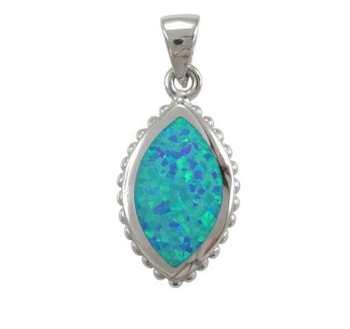 Sterling Silver 20x13mm Marquise Blue Synthetic Opal Pendant