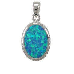 Sterling Silver 19x14mm Oval Blue Synthetic Opal Pendant