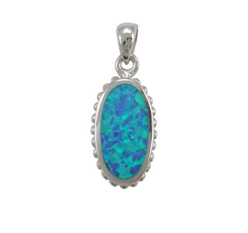 Sterling Silver 20x11mm Oval Blue Synthetic Opal Pendant