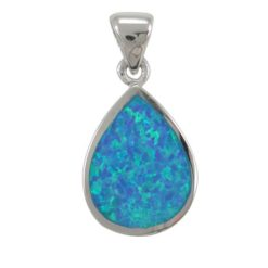 Sterling Silver 20x15mm Teardrop Blue Synthetic Opal Pendant
