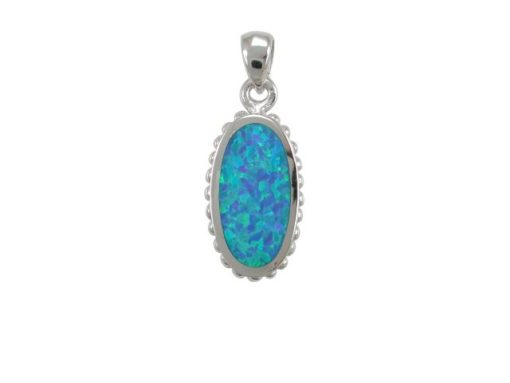 Sterling Silver 18x11mm Oval Blue Synthetic Opal Pendant