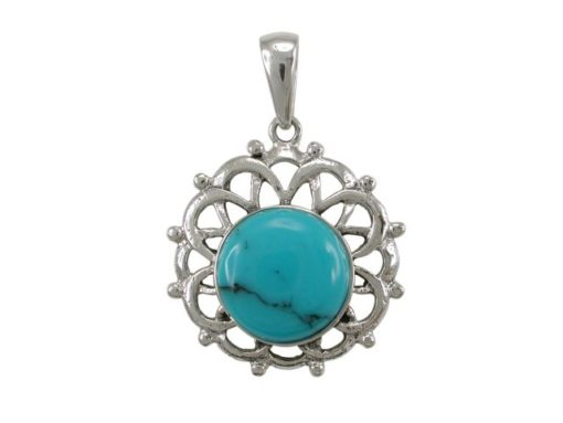 Sterling Silver 2mm Round Blue Turquoise Bohemian Style Pendant