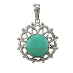 Sterling Silver 2mm Round Green Turquoise Bohemian Style Pendant