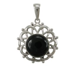 Sterling Silver 2mm Round Black Onyx Bohemian Style Pendant