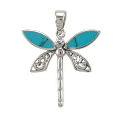 Sterling Silver 23mm Blue Turquoise Dragonfly Pendant