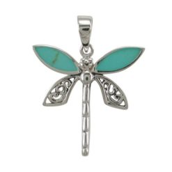 Sterling Silver 23mm Green Turquoise Dragonfly Pendant