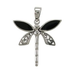 Sterling Silver 23mm Black Onyx Dragonfly Pendant