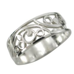 Sterling Silver 7mm Floral Scroll Ring
