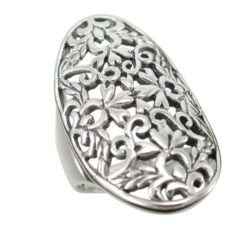 Sterling Silver 29mm Oval Filigree Ring