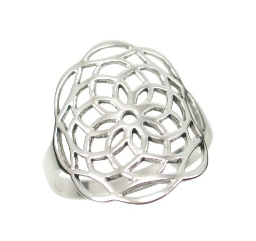 Sterling Silver 18mm Flower Of Life (sacred Geometry) Ring