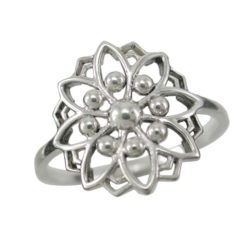 Sterling Silver 15mm Bohemian Style Flower Ring