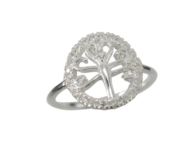 Sterling Silver 13mm White Cubic Zirconia Tree Of Life Ring