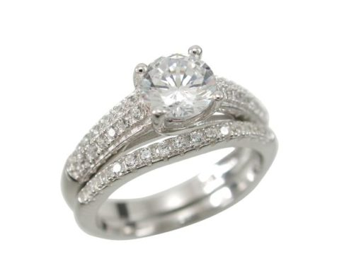 Sterling Silver 6mm White Cubic Zirconia Two Ring Set