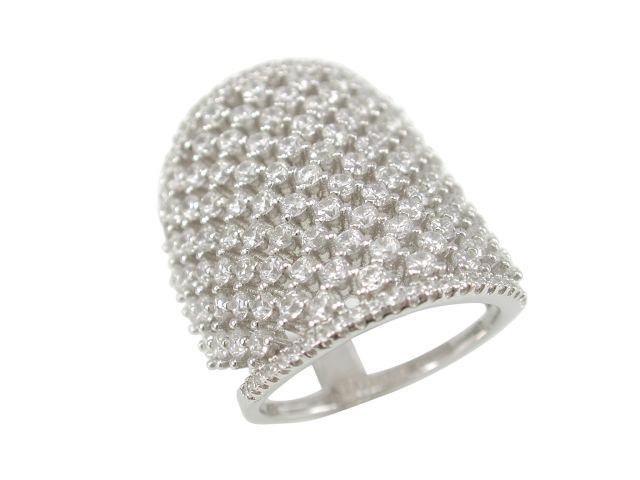 Sterling Silver 25mm White Cubic Zirconia Ring