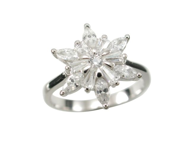 Sterling Silver 13mm Marquise White Cubic Zirconia Star Flower Cluster Ring