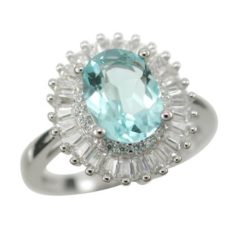 Sterling Silver 13mm Oval Aqua & White Tapered Baguette Cubic Zirconia Ring Size L