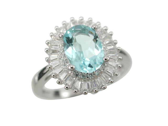 Sterling Silver 13mm Oval Aqua & White Tapered Baguette Cubic Zirconia Ring