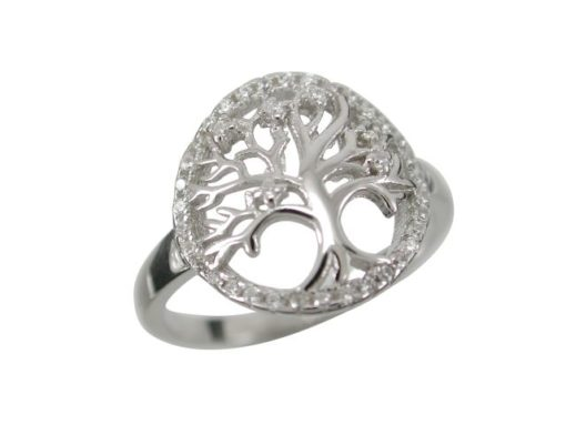 Sterling Silver 14mm Round White Cubic Zirconia Tree Of Life Ring