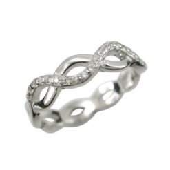 Sterling Silver 4mm White Cubic Zirconia Infinity Ring