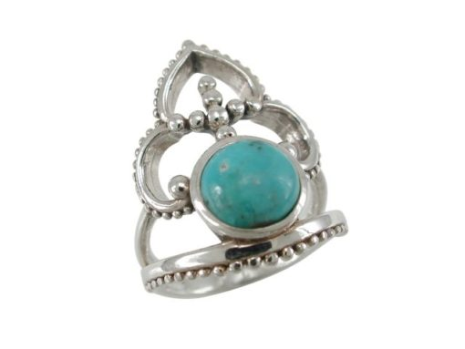 Sterling Silver 24mm Blue Turquoise Bohemian Style Ring
