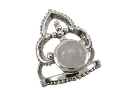 Sterling Silver 24mm Moonstone Bohemian Style Ring