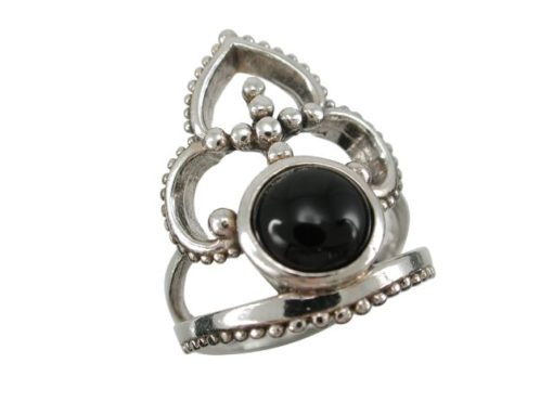 Sterling Silver 24mm Black Onyx Bohemian Style Ring