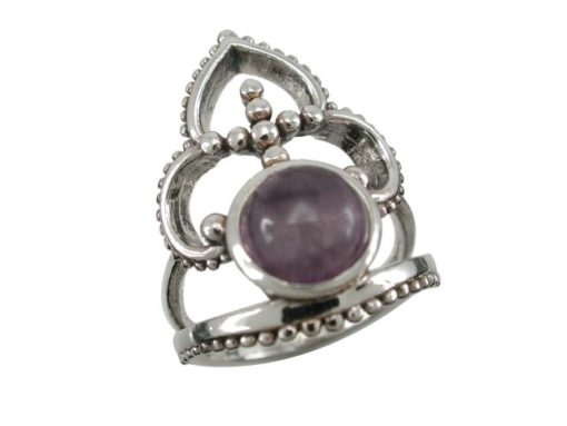 Sterling Silver 24mm Amethyst Bohemian Style Ring